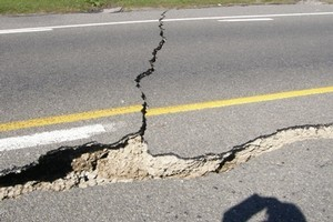 Road damage caused by the earthquake. Photo / Yan Neo