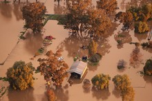 Floodwaters surround a farm in Dookie, Australia. Photo / Getty Images