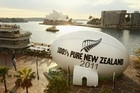 Tourism New Zealand's Giant Rugby Ball in Sydney promoting the Rugby World Cup and New Zealand. Photo / Getty Images.