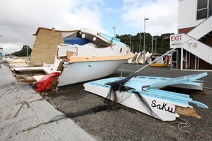 The launch was cut in two in the crash, and the front half was later towed to the Okahu Bay boat ramp. Photo / Natalie Slade