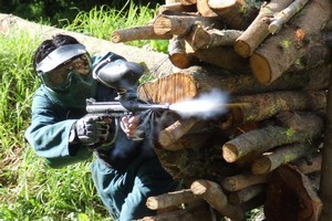 Paintball has the elements of a wild neighbourhood kids' game which adults can equally enjoy. Photo / Supplied