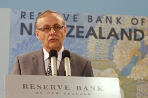 Reserve Bank Governor Alan Bollard speaking at this morning's Monetary Policy Statement. Photo / Mark Mitchell