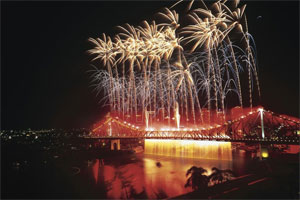 About 2000kg of explosives were set off during the Brisbane Festival. Photo / Supplied