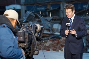 John Campbell reporting at the scene of the Christchurch Earthquake. Photo / Supplied
