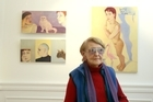 Artist, 90-year-old, Jan Nigro with her artwork that she's exhibiting at Jane Sanders Art Gallery. Photo / The Aucklander