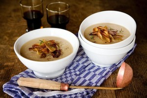 Celeriac can be enjoyed raw or cooked, such as in this celeriac and potato soup. Photo / Babiche Martens