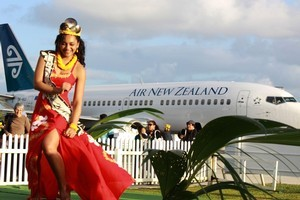 Maria Mitimeti, crowned Miss Niue, performs an impromptu dance while waiting for a delayed plane. Photo / Jim Eagles