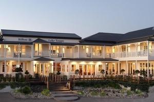 The elegant Hilton Taupo has panoramic views over the lake to Ruapehu. Photo / Supplied