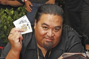 Danny Leaoasavaii with his winning hand - ace-king of spades. Photo supplied