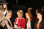 Rachel Smalley, Samantha Hayes and actress Antonia Prebble look on during the Sera Lilly runway show. Photo / Getty Images
