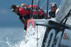 Team NZ get to grips with the difficult conditions off Sardinia. photo / ETNZ