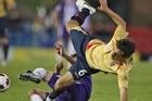 Ben Kantarovski of the Jets is tackled during the round seven A-League match between the Newcastle Jets and the Perth Glory. Photo / Getty Images