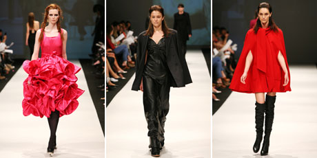 Models wear creations by (L-R) World, Zambesi and Kate Sylvester in the NZFW Retrospective fashion show on the final day of Fashion Week 2010. Photos / Babiche Martens