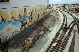 Dan Mills' mural is on two walls either side of the tracks under Newmarket's Broadway. Photo / Dean Purcell