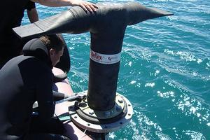 The 'duckbill' nozzles for distributing the treated sewage are designed to bend if they are snagged by a boat anchor. Photo / Supplied