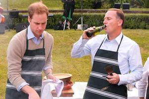 Prince William attends a barbecue at Premier House with John Key. Photo / Getty Images