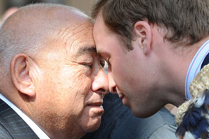 Prince William (R) shares a hongi with Sir Ralph Ngata Love at the Supreme Court in Wellington. Photo / NZPA