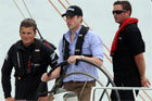 Prince joins Dean Barker aboard a former America's Cup yacht.