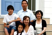 Ally Wang with her father Zhi Wang, mother Ying Xu, son Kevin Sun and daughter Cathy Sun. Photo / Dean Purcell