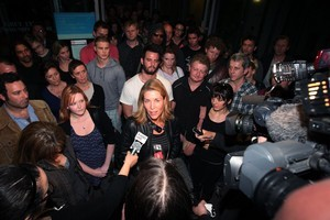 Jennifer Ward-Lealand (centre) speaking after last night's meeting of actors. Photo / Sarah Ivey