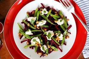 Raw beetroot salad, labne and coriander. Photo / Babiche Martens