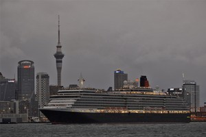 Cunard ship, Queen Victoria, on Auckland's Waitemata Harbour in February. Photo / Herald on Sunday