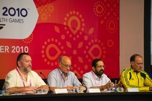 Mike Hooper, CEO of the Commonwealth Games Federation  (left), Michael Fennel, Suresh Kalmadi and Perry Crosswhite. Photo / Getty Images