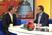 Prime Minister John Key talks with Paul Henry. Photo / TV One