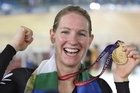What it's all about ... jubilant cyclist Alison Shanks with her gold medal after last night's storming victory in the 3000m individual pursuit. Photo / Brett Phibbs