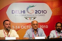 From left: Mike Hooper, Mike Fennell and Suresh Kalmadi, AKA The Three Stooges. Photo / Getty Images.