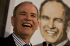 Len Brown celebrates after winning the Auckland Super City election. Photo / Dean Purcell.