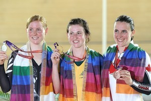 (Left to right) Lauren Ellis of New Zealand (silver), Megan Dunn of Australia (gold) and Tara Alice Whitten of Canada (bronze). Photo / Getty Images