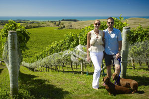 Gabrielle Simmers and Greg Collinge at the Haumoana estate. Photo / Supplied