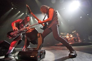 Rob Trujillo (left) and Kirk Hammett of Metallica rock out on stage as they play at Canterbury Arena, Christchurch for the first time. Photo / Roger Grauwmeijer