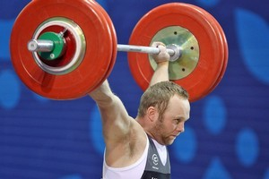 Richard Patterson finished with a silver in the 85kg weightlifting event. Photo / Getty Images