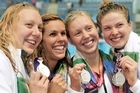 Silver placed medalist from New Zealand pose with their medals during the medal ceremony for the Women's 4x200m Freestyle Final. Photo / Getty Images