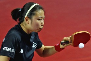 Annie Yang in action for the New Zealand women's table tennis team. Photo / Getty Images