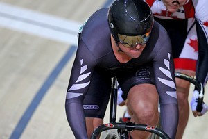 Simon van Velthooven finished fourth in the keirin but was awarded bronze after being impeded. Photo / Getty Images