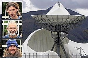 The damaged satellite dome at Waihopai satellite communications interception station. Inset from top: Adrian Leason, Peter Murnane and Sam Land. Photos / Tim Cuff, Supplied
