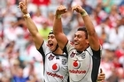 Shaun Johnson and Elijah Taylor of the Warriors celebrate winning the Toyota Cup Grand Final. Photo / Getty images