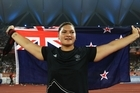 Valerie Adams celebrates winning gold in the women's shot put final. Photo / Getty Images