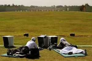 Mike Collings and John Snowden compete in the 500 yards Pairs Full Bore Open. Photo / Getty Images