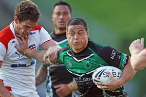 Timana Tahu of New Zealand Maori attacks the line. Photo / Getty Images