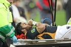 Piri Weepu of the Lions is stretchered off injured from the field. Photo / Getty Images