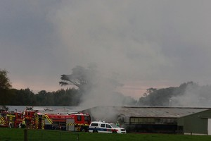 Two firefighters were injured in a massive blaze at a Lepperton chicken farm, New Plymouth. Photo / NZPA