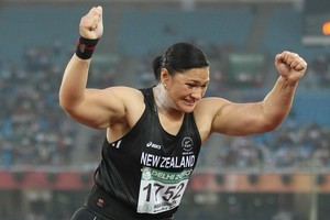 Valerie Adams, reacting to her second throw, which broke the Commonwealth Games record for a second time and won her the gold medal in the shot put final. Photo / Brett Phibbs