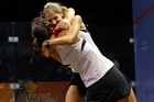 Joelle King (L) and Jaclyn Hawkes celebrate their victory late last night. Photo / APN
