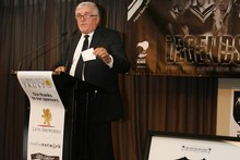 Sir Peter Leitch speaks at the launching of the League 4 Life Foundation. Photo / Steven McNicholl