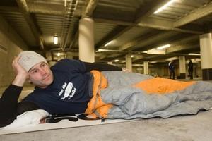 Marc Ellis beds down in the Lifewise carpark. Photo / Paul Estcourt.