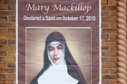 A banner hanging at St Michael's honours Mary MacKillop. Photo / Richard Robinson